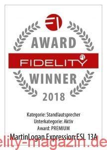 FIDELITY Award Winner 2018 Martin Logan Expression ESL 13A