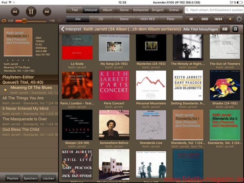 Aurender X100L Musicserver - Als Verwaltungs-Bedienzentrale empfiehlt sich die zwingend erforderliche Aurender-App fürs iPad – durchdachtes Bedienkonzept und optisch ansprechende Gestaltung inklusive.