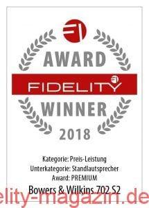 FIDELITY Award Winner 2018 Bowers & Wilkins 702 S2