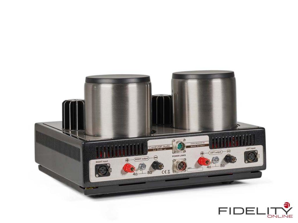 Canever Audio La Scala Reference Amplifier. La Scala arbeitet symmetrisch und akzeptiert auch nur symmetrische Eingangssignale – notfalls muss man sich mit Adaptern behelfen. Auffallend: Kippschalter für die Lautsprecherimpedanz.