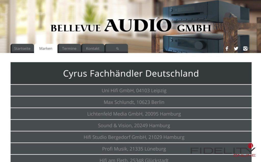 Cyrus Audio Fachhändler