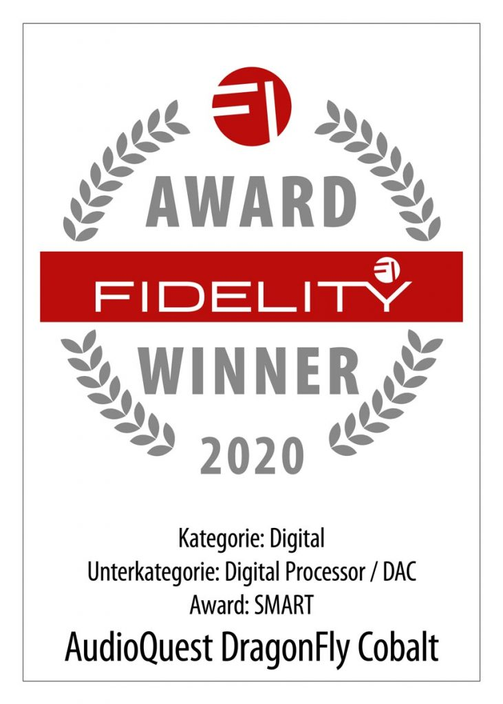 FIDELITY Award 2020, AudioQuest Dragonfly Cobalt