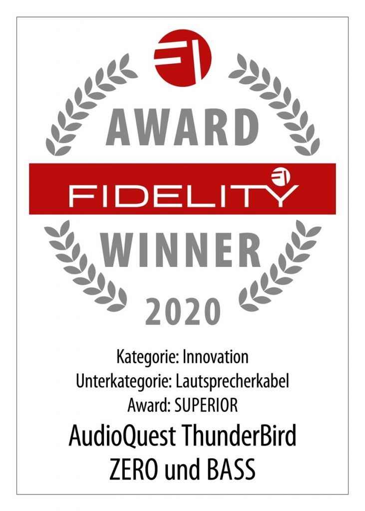 FIDELITY Award 2020 AudioQuest ThunderBird Zero und Bass