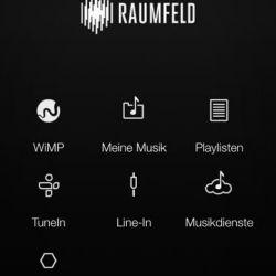 Raumfeld Connector2 - Die Menüführung ist auf mehrere Screens verteilt; hier der Home-Screen