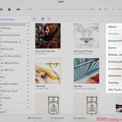 Auralic Aries Mini Screenshots - Auralic setzt auf die Lightning-DS-Plattform und die gleichnamige Steuerungs-App. Wer diese, wie hier abgebildet, auf einem iPad installiert, kann sich über eine klar strukturierte, übersichtliche sowie optisch ansprechende Darstellung und sehr gute Bedienbarkeit freuen. Zu den Vorzügen von Lightning DS gehört die Option, den Aries Mini direkt als Server einzusetzen; damit bieten sich weitere Sortiermöglichkeiten des Musikbestandes etwa nach Abtastrate oder Datum. Lightning DS ist auch bei der Einrichtung des Aries Mini behilflich.