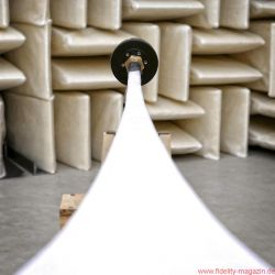 Hörner und ihre Treiber Teil 1 - Horn und Treiber im reflexionsarmen Raum. Man beachte den kleinen Treiber am großen Horn.